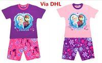 Cheap 2014 Summer Children Cartoon Frozen Elsa Anna Pajamas Girls Cotton Short Tshirt Pants Suit Set Baby Kids Tracksuit Homewear Sleepwear By DHL