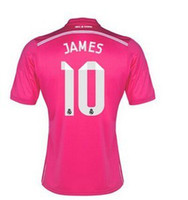 Wholesale 2014 Reals Madrid JAMES Pink Away Soccer Jerseys In Stock Top Thai Quality Men s New Season Soccer Shirts Discount Club Team Jerseys