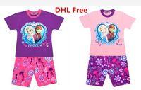 Cheap DHL Ship Hot Summer Children Cartoon Frozen Elsa Anna Pajamas Girls Cotton Short Tshirt Pants Set Baby Kids Tracksuit Homewear Sleepwear