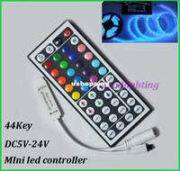 Wholesale rgb led controller DC5V V mini key IR remote controller RGB control for led strip light fast shipping