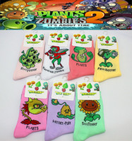 Wholesale 24pcs pair NEW colors women cartoon cotton Plants VS Zombies game peashooter sunflower fivepeater sport socks