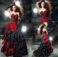 red and black wedding dresses - custom made dress Black and red wedding gown beads appliques bow sash ruffles A line wedding dress MK