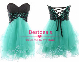 Wholesale 2014 mint green strapless homecoming dresses with black lace top corset back A line puffy mini short tulle prom dresses BO6364
