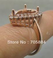 semi mount ring pear - PEAR CUT SOLID K ROSE GOLD NATURAL DIAMONDS WEDDING ENGAGEMENT SETTING SEMI RING MOUNT G090482