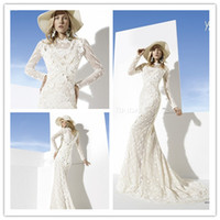 Cheap 2014 Boho Girl Mermaid High Collar Full Sleeves Back Covered Button Long Train Applique Chapel White Bridal Wedding Dress