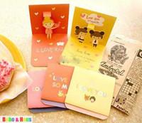Wholesale New cute love girl sticker greeting card set envelope sticker card
