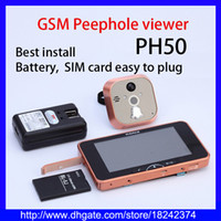 Wholesale GSM Peephole Viewer quot LCD Touch Screen Door Camera Peephole Doorbell Wide Lens IR Motion Detect Door Viewer with MMS alarm with GB TF card