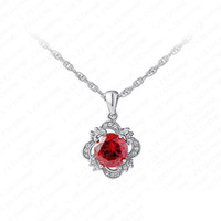 Cheap Round Red Zirocn Trendy Necklace For Women New Flower Pendant Necklace Swiss Cubic Zirconia Diamond Boutique Necklace
