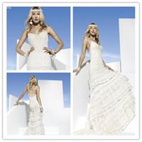 Cheap 2014 Boho Girl Tiered Mermaid Spaghetti Straps Sleeveless Back Zipper Long Train Applique Chapel White Bridal Wedding Dress