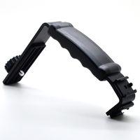 Cheap Hot Sale L-Shaped Video Camera Flash Bracket Holder With Dual Hot Shoe Black