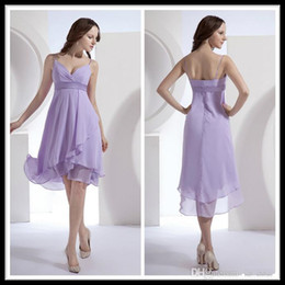 2014 Simple Spaghetti Sweetheart A line Chiffon Lavender Short Bridesmaid Dresses Knee Length Ruffles Wedding Party Gowns