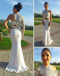 New Hot Prom Dress,Exquisite White Chiffon One Shoulder and Blink Rhinestones Long Sleeve Mermaid Evening Dress