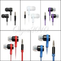 2017 el bajo piso Dulces colores 3.5mm Universal Metal auriculares In-Ear auriculares auriculares auriculares Cable plano MP3 MP4 celular Super Bass