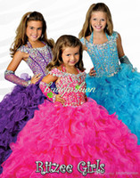 Wholesale 2014 Custom made Purple kids ball gowns Orange Halter Ruffles Shining Beading Crystal Lace up Flower Girl Pageant Dresses Party Prom Gown