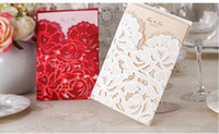 Wholesale NEW ARRIVAL CW066 fashion hollow out lace Invitation Wedding Invitations come envelopes sealed card