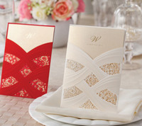 Cheap NEW ARRIVAL CW060 red or white fashion hollow out Invitation Wedding Invitations come envelopes sealed card 50pcs lot