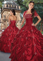 Cheap 2014 Red Ball Gown Quinceanera Dresses Beads Strapless Lace up Back sweet 18 Free Shipping Short Sleeves Jackets Pick Up ruffle D664