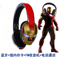 Wholesale 201407H Iron man wireless Bluetooth Headphone For mobile Phone Tablet PC FM Bluetooth headset Bass Sports Support TF Card
