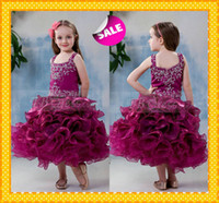 Cheap 2015 Cute Cupcake Ball Gown Tea Length Baby Infant Little Girl's Pageant Dresses Ruffled Beaded Square Neckline Cheap Party Gowns Hot Sale