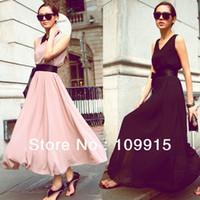 Cheap Wholesale New Women Floor-Length Beach Boho Casual Sundress Evening Chiffon Long Maxi Dress Dropshipping Free HR654