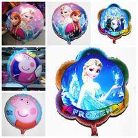 Cheap 45*45cm cartoon helium balloons frozen peppa pig foil balloon mylar hydrogen balloon party balloon 50pcs lot kids christmas gifts