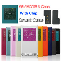 Wholesale Official AAAAA Quality S VIEW wake sleep function flip leather case cover for Samsung Galaxy S5 I9600 Note with Chip English Package