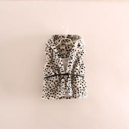 Wholesale 2014 Kids Girls Leopard Faux Fur Waistcoat Baby girl grey Warm Hooded Fall Winter Vest