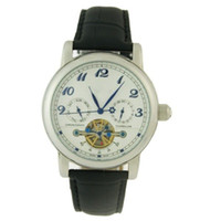 Wholesale Classic Style Leather Band Round Dial Subdial Men Mechanical Wrist Watch with Week