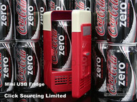 Wholesale drop shipping Mini USB PC Fridge Beverage Drink Cans Cooler Warmer newest