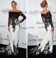 Wholesale 2014 Inspired by Byparis Hilton De Grisogono Fatale in Cannes France May Off Shoulder Long Sleeve Black and White Celebrity Dress dhyz