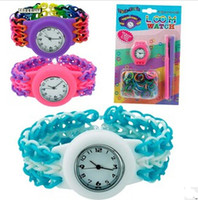 Cheap Free DHL Newest DIY Knitting Braided loom Watch Rainbow Loom Rubber Bands Kits Silicone Watch Bracelet DIY Loom Watch Watch Bands Clips Hook