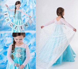 Wholesale Frozen Baby Girls one piece Dresses Robe ball gown with net cloak T25