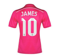 Wholesale 2014 Madrid James Away Jerseys Pink Soccer Jerseys for Men Thai Quality Club Soccer Tops Kits Cheap Sports Shirts Hot Sale Jerseys