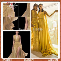 Cheap PE199 2014 Sexy Fashion Elie Saab Gold Evening Dress Deep V-neck Front Slit Formal Women Chiffon Party Dress Gowns Custom