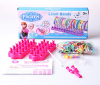 Cheap 1407z frozen loom bands rainbow loom DIY toys Kit looming kits Rubber band bracelets gifts for children anna elsa 40070814678