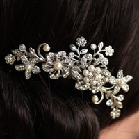 Wholesale Fashion girl Bridal Wedding Flower Crystal Rhinestones Pearls Women Hair Clip Comb Diamante Accessories Gift