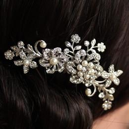 Wholesale Fashion girl Bridal Wedding Flower Crystal Rhinestones Pearls Women Hair Clip Comb Diamante Accessories Gift