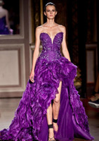 Cheap Zuhair Murad Evening Dresses 2014 New Fashion Elegant Formal Sexy Sweetheart Sleeveless Purple Crystal Beaded Long Party Gown Plus Size