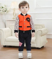 baseball trousers - NEW Autumn Kids Sets Outfits Baby Boys Clothes Leopard Orange Baseball Jacket Pants Trousers Cotton Boys Clothing Sets K0357