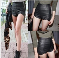 Wholesale Fashion Women High Waist Punk Rock Faux Leather Slim Fit Asymmetric Shorts Pants