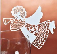 wedding place card holders - 120pcs Laser Cut angel Place Card number holder Wine Glass Card Wedding xmas table Decoration wd120