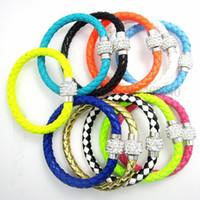 Wholesale 50Pcs PU Leather Bracelet amp Disco Ball Crystal Shamballa Magnetic Clasp Bracelet