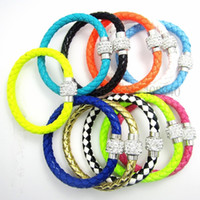 Wholesale 50Pcs PU Leather Bracelet amp Disco Ball Crystal Shamballa Magnetic Clasp Bracelet