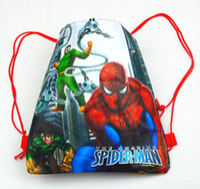 Wholesale kids love spiderman kids Cartoon Drawstring Backpack Bag school bags Non woven36 CM KT050