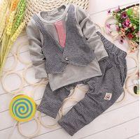 Boy Spring / Autumn Long Fashion Gentleman Baby Suit Korean False 2pcs Waistcoat Tshirt + Pants Toddler Boy Casual Set 0-4Age Kids Clothes Set Party Wear GX772