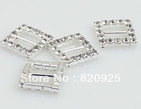 Wholesale X Clear Glass Rhinestone Square Buckle Sliders Wedding Invitation Craft