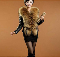 Wholesale 2014 Faux Fur Collar Leather Jacket Women Fashion faux leather winter warm coat Black Leather coat S XXXL