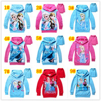 Wholesale Frozen Long Sleeve Hoodie Yrs Baby Girls Boys Elsa Anna Princess Fleece Sweater Terry Hooded Jumper Cartoon Hoodies Outerwear Kids Cloth