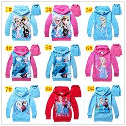 Wholesale Frozen Long Sleeve Hoodie Yrs Baby Girls Boys Elsa Anna Princess Fleece Sweater Terry Hooded Jumper Cartoon Hoodies Outerwear Kids Cloth