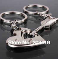Wholesale Cute Cupid s arrow key ring Key Chain for Lover Couple Wedding gift retail
